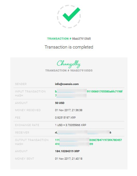 Changelly step 7a
